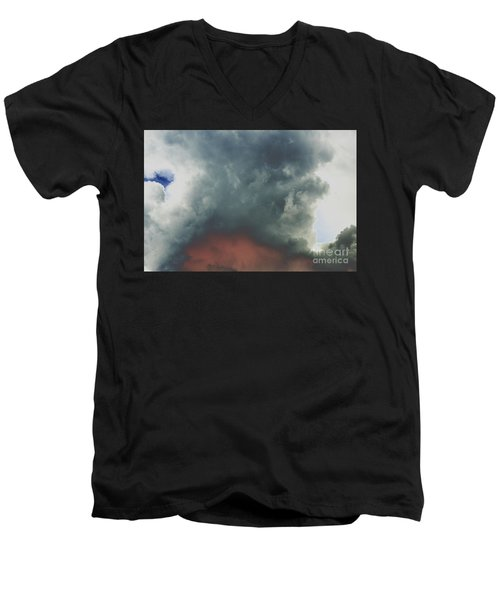 Men's V-Neck T-Shirt featuring the photograph Atmospheric Combustion by Jesse Ciazza