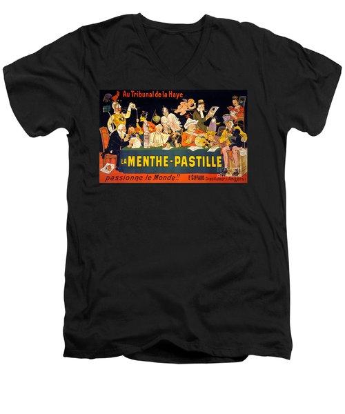 Au Tribunal De La Haye La Menthe Pastille Vintage Men's V-Neck T-Shirt