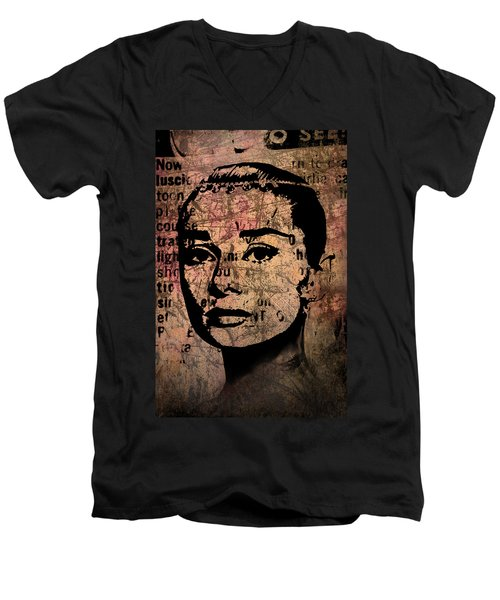 Men's V-Neck T-Shirt featuring the mixed media Audrey Hepburn #7 by Kim Gauge