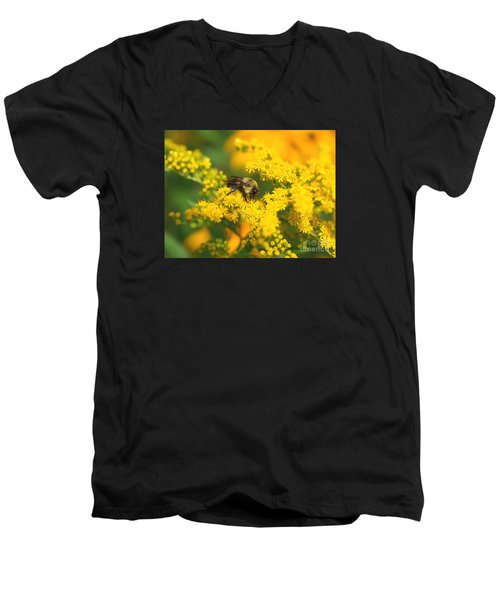 Men's V-Neck T-Shirt featuring the photograph August Bee by Susan  Dimitrakopoulos