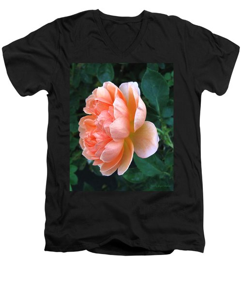 Men's V-Neck T-Shirt featuring the photograph August Rose 09 by Joyce Dickens