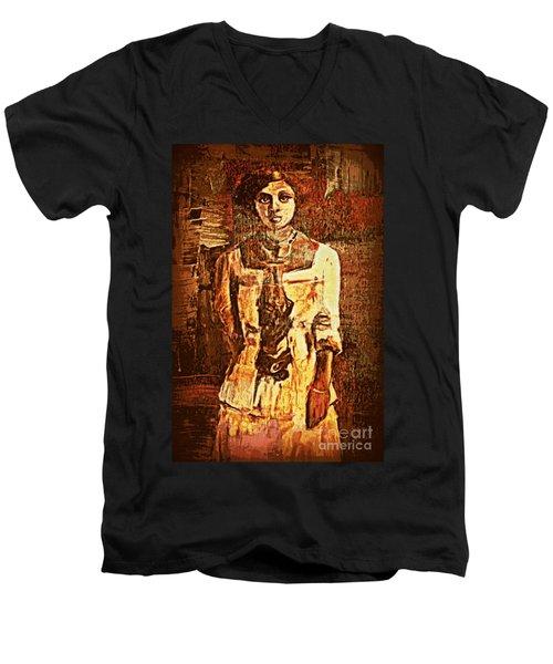 Auntie Men's V-Neck T-Shirt by Vannetta Ferguson