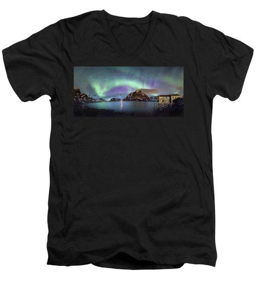Aurora Above Reinefjord Men's V-Neck T-Shirt