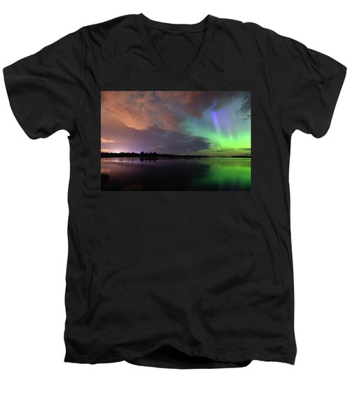 Aurora And Storm Clouds Men's V-Neck T-Shirt