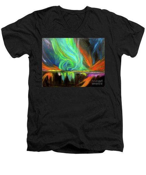 Aurora Borealis Men's V-Neck T-Shirt by Jenny Lee