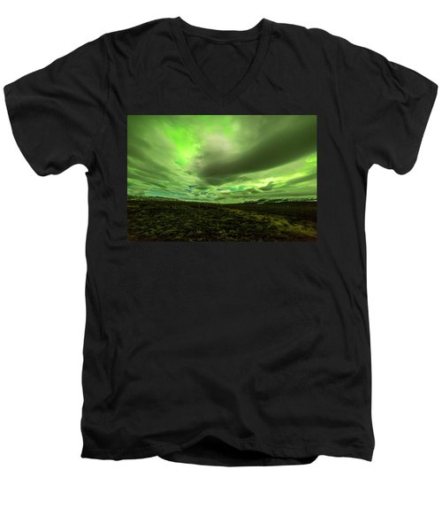 Aurora Borealis Over A Frozen Lake Men's V-Neck T-Shirt by Joe Belanger