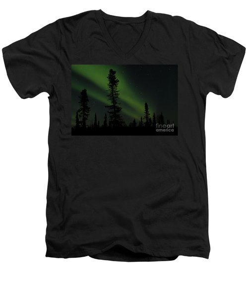 Aurora Borealis The Northern Lights Interior Alaska Men's V-Neck T-Shirt by Sharon Mau