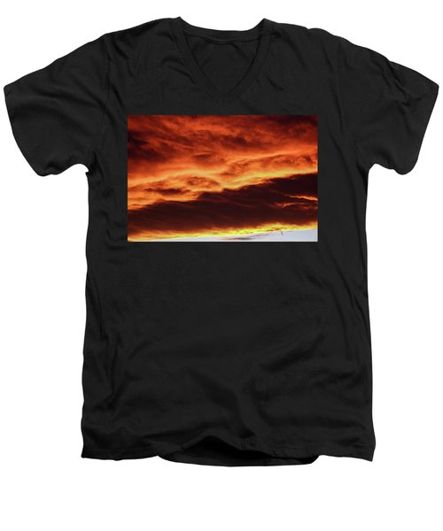 Aurora Firey Sunset Men's V-Neck T-Shirt