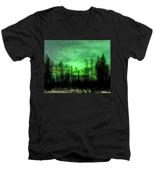 Aurora In The Clouds Men's V-Neck T-Shirt