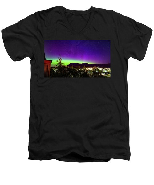 Aurora Over Mt Wellington, Hobart Men's V-Neck T-Shirt by Odille Esmonde-Morgan