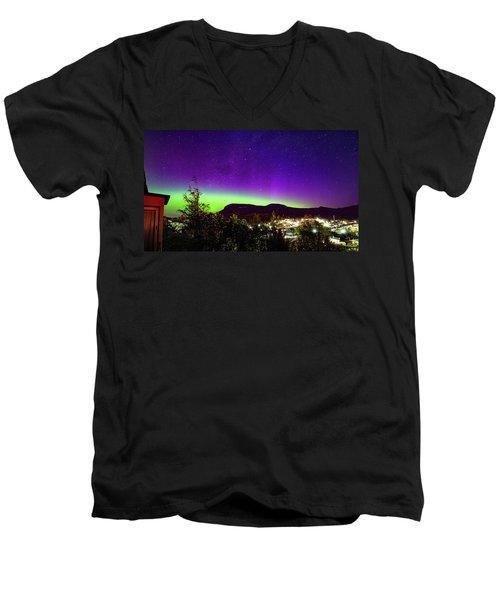 Men's V-Neck T-Shirt featuring the photograph Aurora Over Mt Wellington, Hobart by Odille Esmonde-Morgan