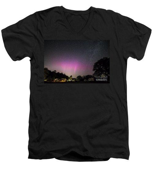 Aurora Over Sagadahoc Bay Campground Men's V-Neck T-Shirt