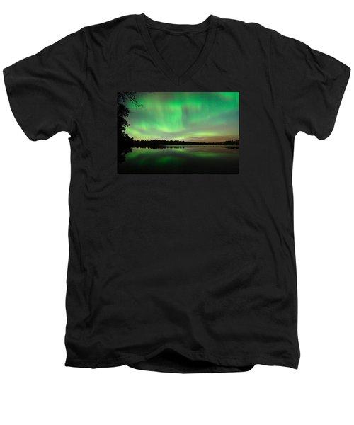 Aurora Over Tofte Lake Men's V-Neck T-Shirt by Larry Ricker