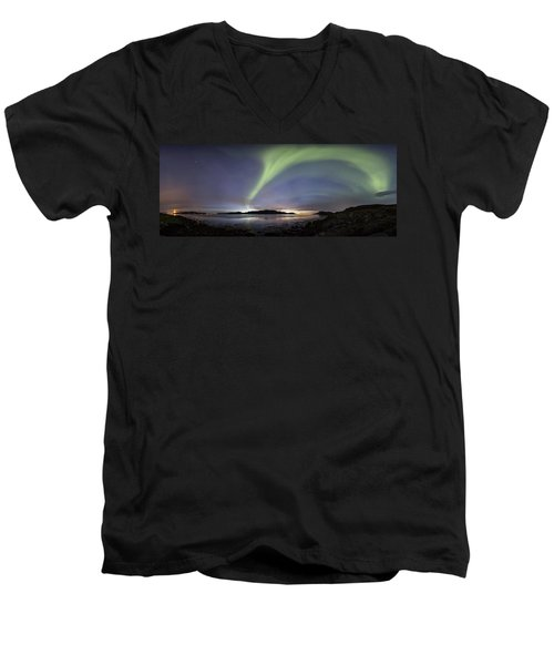 Aurora Polaris Panoramic Men's V-Neck T-Shirt