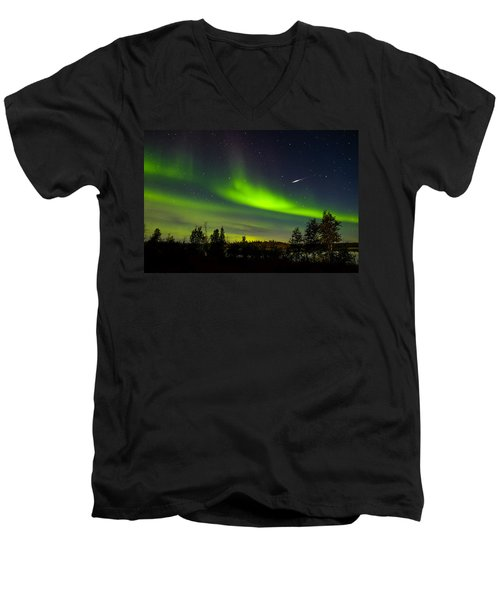 Aurora With Meteor  Men's V-Neck T-Shirt
