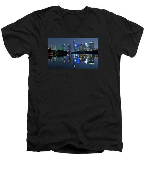 Austin Night Reflection Men's V-Neck T-Shirt