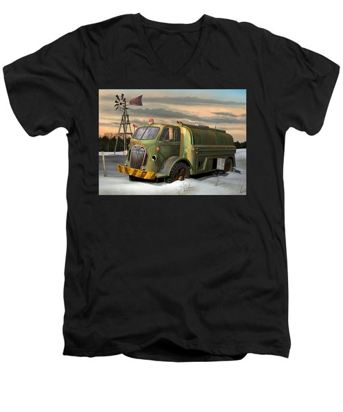 Men's V-Neck T-Shirt featuring the digital art Autocar Waterwagon by Stuart Swartz