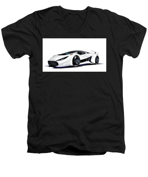 Men's V-Neck T-Shirt featuring the drawing Automobili Lamborghini Concept by Brian Gibbs