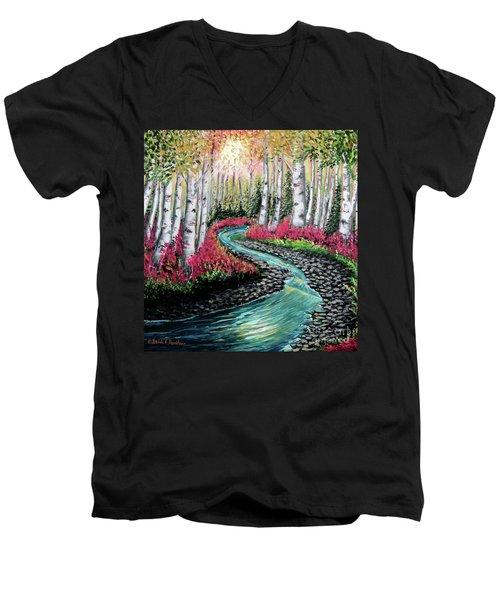 Autumn Aspen River Sunrise Men's V-Neck T-Shirt