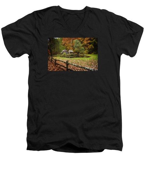 Autumn At Cuttalossa Farm V Men's V-Neck T-Shirt by Debra Fedchin