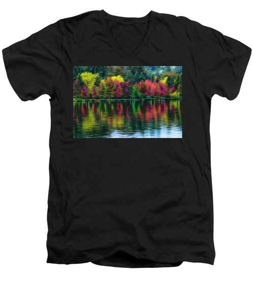 Autumn At Green Lake Seattle Men's V-Neck T-Shirt by Yulia Kazansky