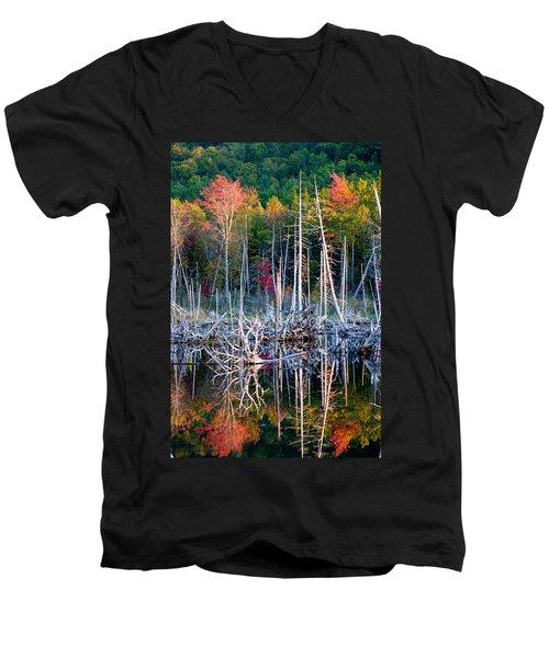 Autumn At Moosehead Bog Men's V-Neck T-Shirt