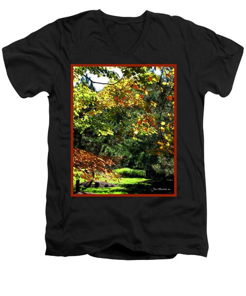 Men's V-Neck T-Shirt featuring the photograph Autumn Backyard by Joan  Minchak