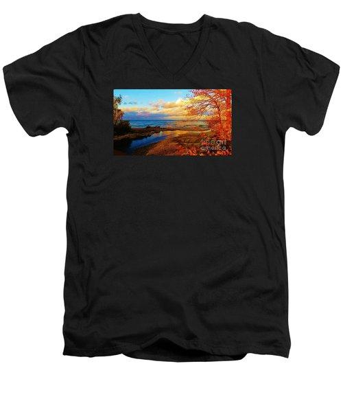 Autumn Beauty Lake Ontario Ny Men's V-Neck T-Shirt by Judy Via-Wolff
