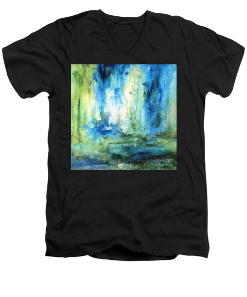 Men's V-Neck T-Shirt featuring the painting Spring Rain  by Laurie Rohner