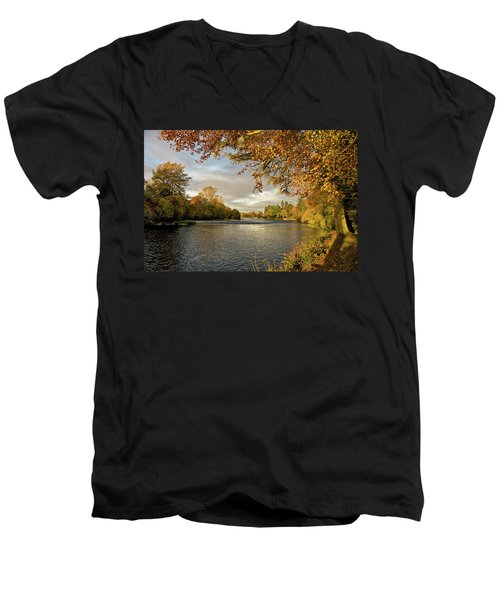 Autumn By The River Ness Men's V-Neck T-Shirt by Jacqi Elmslie