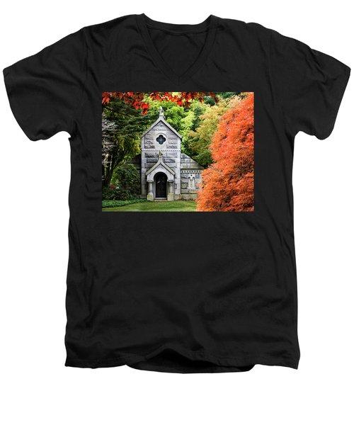 Autumn Chapel Men's V-Neck T-Shirt by Betty Denise