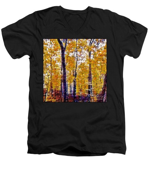 Autumn  Day In The Woods Men's V-Neck T-Shirt by MaryLee Parker