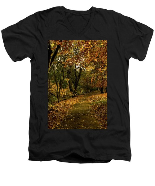 Autumn / Fall By The River Ness Men's V-Neck T-Shirt by Jacqi Elmslie