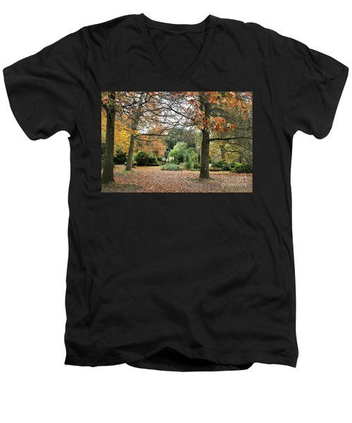 Men's V-Neck T-Shirt featuring the photograph Autumn Fall by Katy Mei