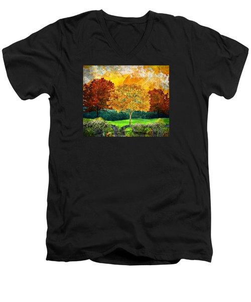 Autumn Fantasy Men's V-Neck T-Shirt by Ally White