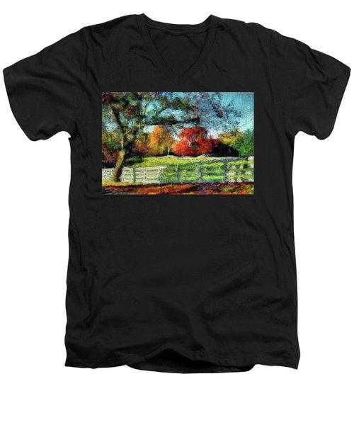 Autumn Field On The Farm Men's V-Neck T-Shirt