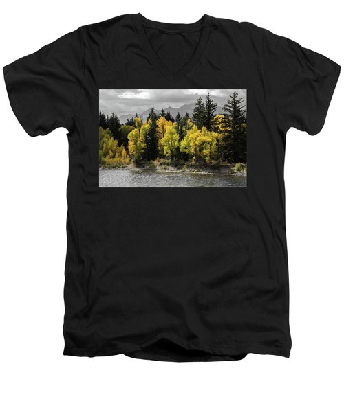 Men's V-Neck T-Shirt featuring the photograph Autumn Glow by Colleen Coccia