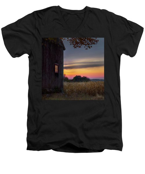 Men's V-Neck T-Shirt featuring the photograph Autumn Glow Square by Bill Wakeley