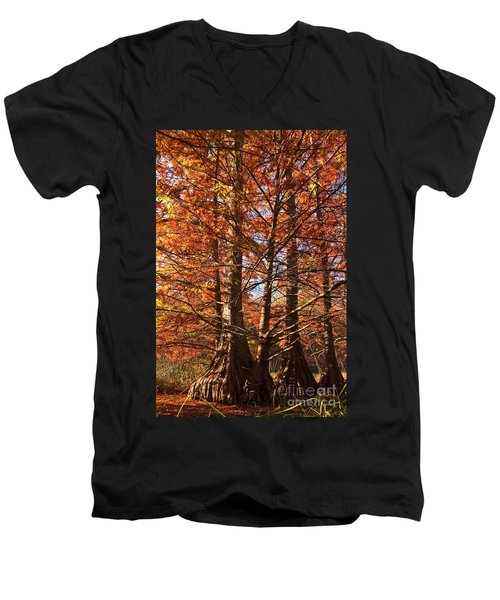 Men's V-Neck T-Shirt featuring the photograph Autumn Grandeur At Lake Murray by Tamyra Ayles