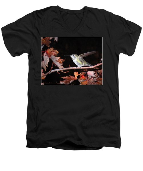 Men's V-Neck T-Shirt featuring the photograph Autumn Hummer by Joyce Dickens