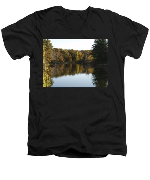 Men's V-Neck T-Shirt featuring the photograph Autumn In Mears Michigan by Tara Lynn