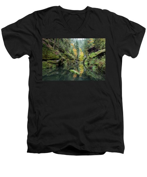 Autumn In The Kamnitz Gorge Men's V-Neck T-Shirt by Andreas Levi