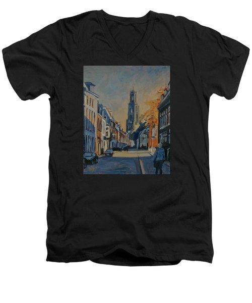 Autumn In The Lange Nieuwstraat Utrecht Men's V-Neck T-Shirt by Nop Briex