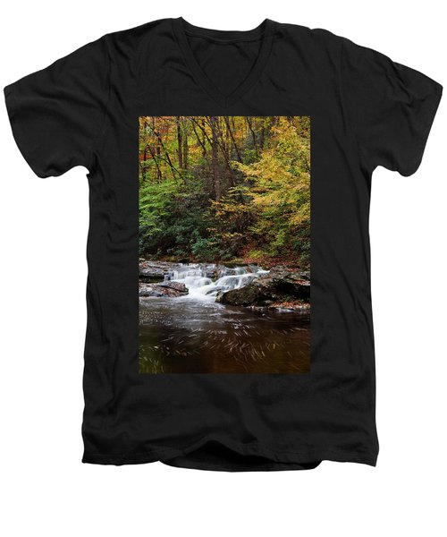 Autumn In The Smokies Men's V-Neck T-Shirt by Andrew Soundarajan