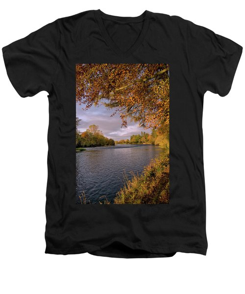 Autumn Light By The River Ness Men's V-Neck T-Shirt by Jacqi Elmslie