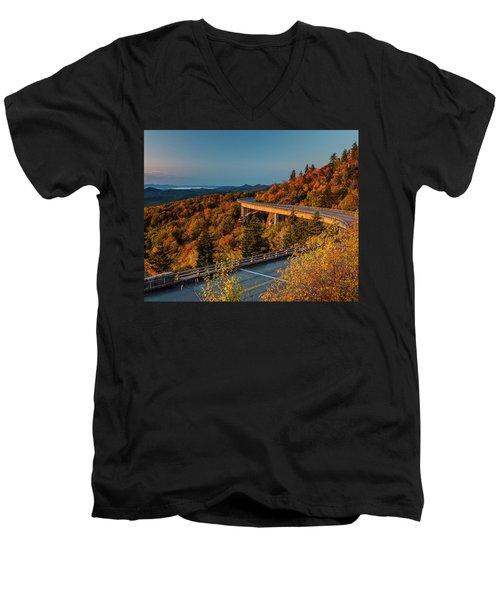 Morning Sun Light - Autumn Linn Cove Viaduct Fall Foliage Men's V-Neck T-Shirt