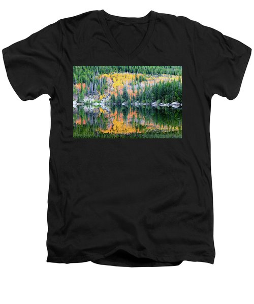 Autumn Mirror At Bear Lake Men's V-Neck T-Shirt