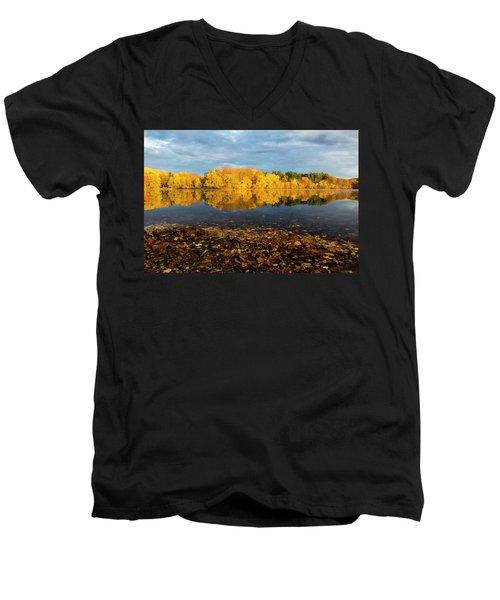 Autumn Morning Reflection On Lake Pentucket Men's V-Neck T-Shirt by Betty Denise