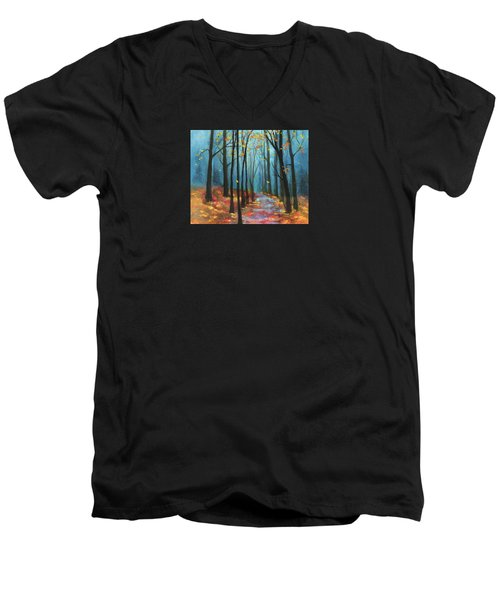 Men's V-Neck T-Shirt featuring the painting Autumn Path by Terry Webb Harshman