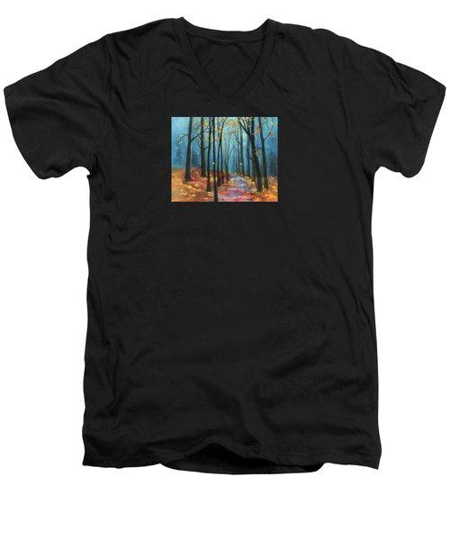 Autumn Path Men's V-Neck T-Shirt by Terry Webb Harshman